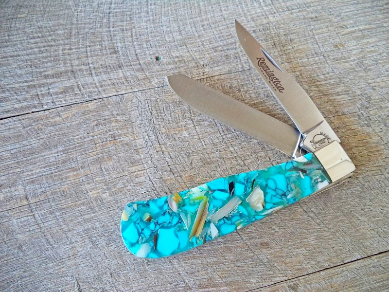 Remington Custom Chipped Turquoise Pearl Baby Bullet Trapper