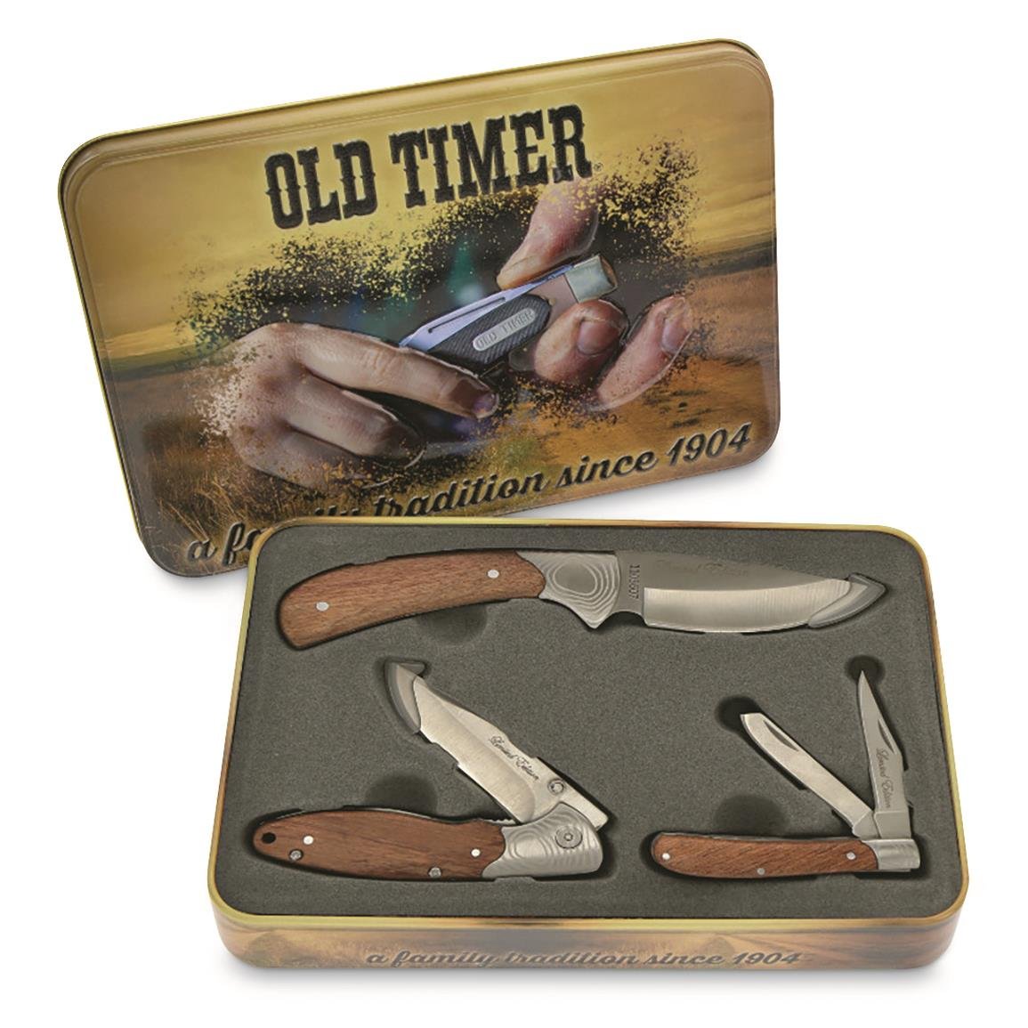 Schrade Old Timer Rosewood Three Knife Gift Tin
