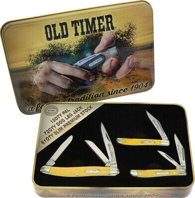 Schrade Old Timer Yellow Delrin Three Knife Gift Tin