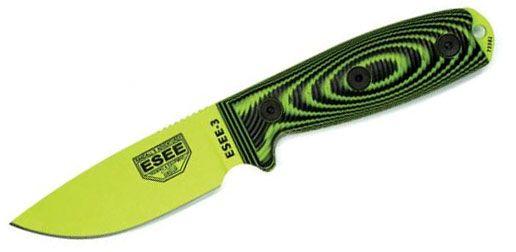 ESEE 3 Neon Green/Black G10 Venom Green Fixed Blade