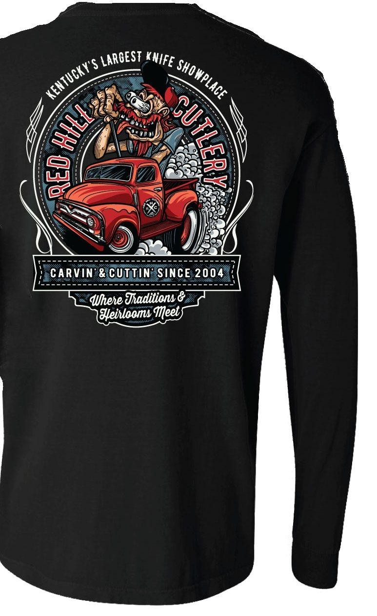 """Red Hill Truck """"Fink"""" Black Long Sleeve Shirt"""