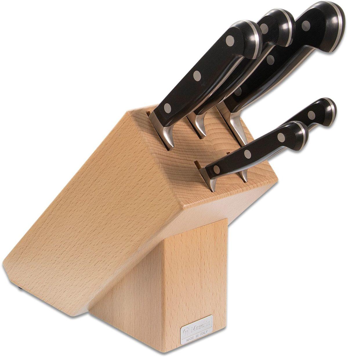 Maserin Black POM 6 Piece Kitchen Block Set