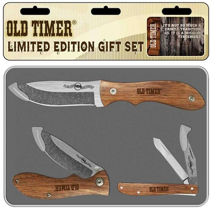 Old Timer Rosewood Three Knife Gift Tin Set (damascus-style)
