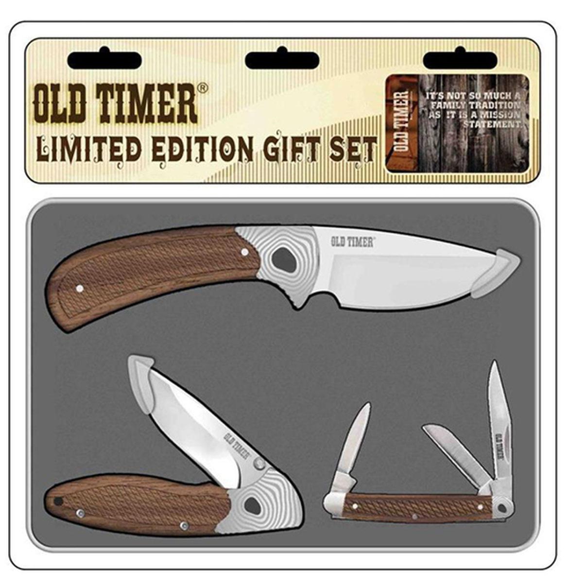 Old Timer Rosewood Three Knife Geo Gift Tin Set